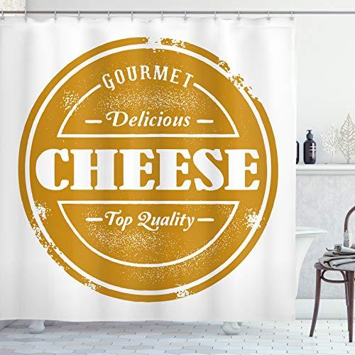 ABAKUHAUS Kaas Douchegordijn, Themed van het Voedsel Grunge Stamp, stoffen badkamerdecoratieset met haakjes, 175 x 180 cm, Dark Geel Wit