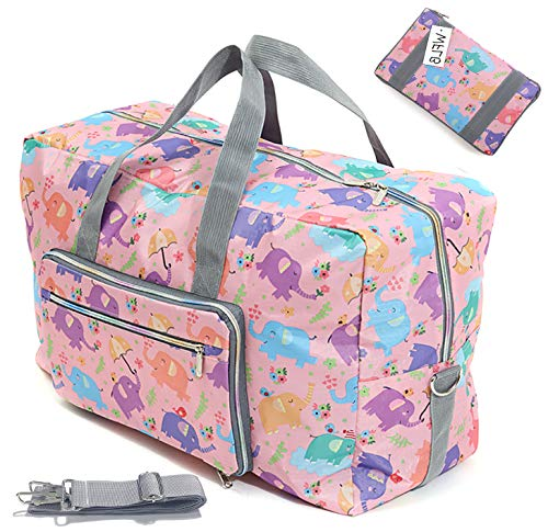 Large Foldable Travel Duffle Bag For Women Hospital Bag Cute Floral Tote Handbag Shoulder Weekender Overnight Carry On Checked Luggage Bag For Girls (pink elephant)