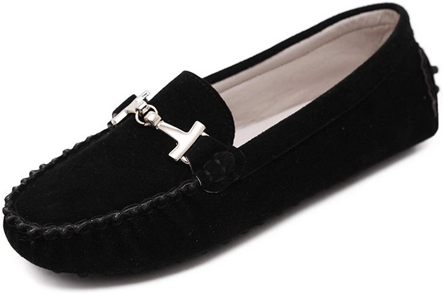 1TO9 Womens Low-Cut Uppers Round-Toe Solid Black Suede Flats shoes - 5 B(M) US