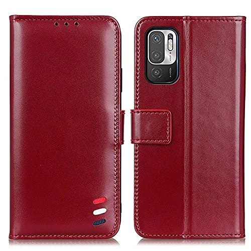 Happy-L Funda compatible con Redmi Note 10 5G, Flip Kickstand Folio Wallet Case con tarjetero, cierre magnético Pearlescent PU Leather Wallet Case (Color: rojo vino)