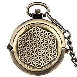 IHCIAIX Reloj de bolsillo, tapa hueca única, doble tocadiscos de cuerda manual, reloj de bolsillo mecánico, para hombre, bronce 30 cm, cadena, N.º 1