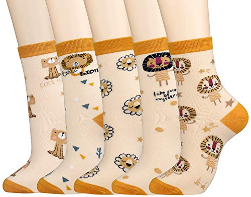 Women's 4 Pairs Novelty Lion Ankle Socks Girls Cute Fun Patterned Socks -  xiaomaizi
