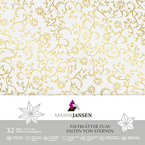 MarpaJansen 517.760-98 Faltblätter aus Transparentpapier - Origamipapier - (15 x 15 cm, 32 Blatt, 115 g/m²) - Mille-fleurs gold, Mehrfarbig, One Size