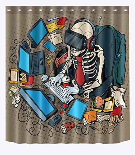 Duschvorhang-Set mit Skelett-Geek-Nerd-Motiv, Hippie-Punk-Design, Skelett-Dekor für Badezimmer, 182,9 x 182,9 cm, Stoff, wasserdicht