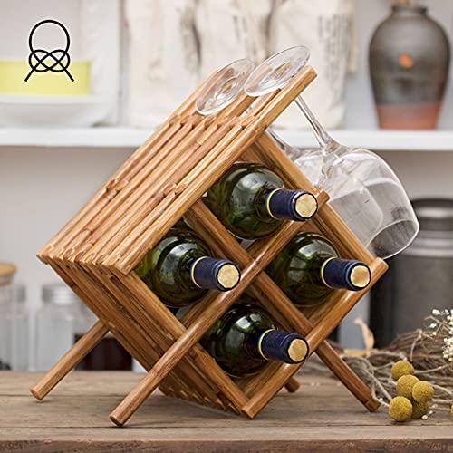 LWKBE Estante de Vino de Madera Maciza Soporte de Vino Creativo Estantes de visualización con Soporte de Vidrio Bastidor, 4 Botellas de Capacidad para Cocina casera, Barra