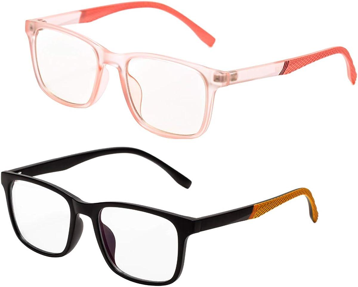 2 Pack Blue Light Blocking Glasses for Kids,UV Protection, Anti Glare Eyeglasses (Age 5-15)