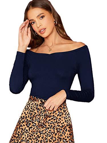 DIDK Tee Shirt Femme Top À Épaules Dénudées Col Bardot Manches Longues T-Shirt Moulant Haut Elégant Pull Chic Bleu-M