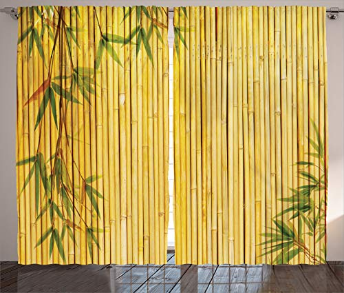 Ambesonne Bamboo Print Curtains, Yellow Colored Woodland Background Tree Branches Exotic Plants Peaceful Artwork, Living Room Bedroom Window Drapes 2 Panel Set, 108