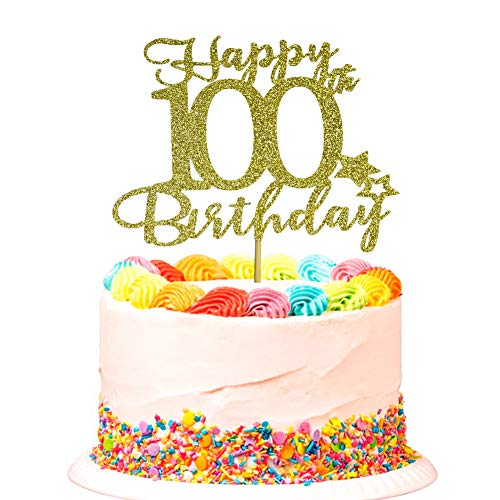 Happy 100th Birthday Cake Topper for 100th Birthday Party Decorations Sign Gold Glitter
