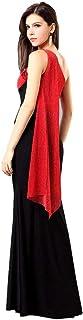 فستان للحفلات للنساء بقصة ضيقة طويل مناسب لحفلات الزفاف والسهرات الليلية بلون أحمر وأسود (h041)