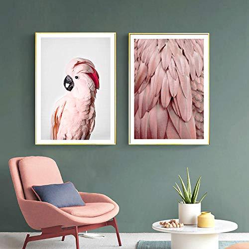 Empty SJLAQ Rosa Kunstdruck Tiere Wandplakat Papagei Bilder für Wohnzimmer Home Decor Leinwand Malerei-50x70cmx2 Stück kein Rahmen