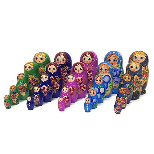 Azhna Lot 5 Sets of 5 pcs Souvenir Matryoshka Home Decor Collection Surprize Design Flower Style Handpainted Wooden Nesting Dolls 10.5 cm Russian Stacking Dolls