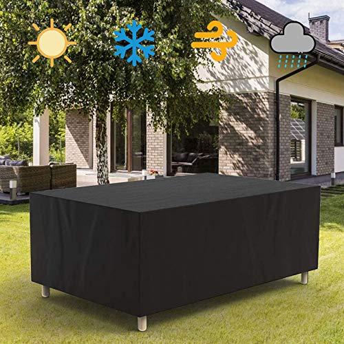 HSGAV Funda Muebles Jardín Exterior Cubierta Protectoras Muebles Jardi Impermeable Exterior Muebles Jardín Cubiertas Mesa y Silla Patio Sofá 210D Oxford Anti-UV Negro,200x165x80cm