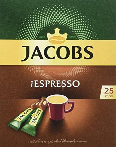 Jacobs löslicher Kaffee Espresso, 25 Instant Kaffee Sticks für 25 Getränke