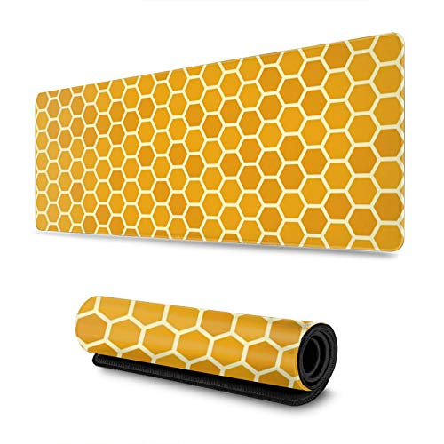Orange Honeycomb Gaming Mouse Pad XL, Extended Large Mouse Mat Desk Pad, Stitched Edges Mousepad, Long Non-Slip Rubber Base Mice Pad, 31.5 X 11.8 Inch