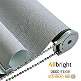 ALLBRIGHT UV Protection Striped Jacquard Thermal Insulated Waterproof Window Roller Shades and Blinds 100% Blackout Shades (35 x 72 inches, Pebble Grey)