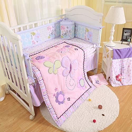 BAIGIO Baby Bed Linen Set 7-Piece Baby Crib Sets Cot Bumper Cot Bumper Baby 100% Cotton Children's Bedding Set OekoTex Pink Butterfly