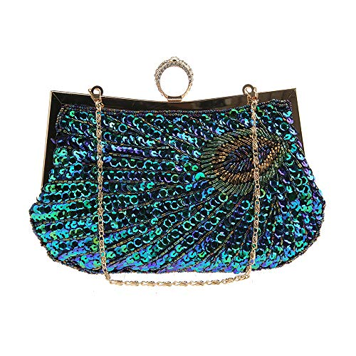 Peacock Evening Bag Sequins Beaded Clutch Purse with Ring Lock Closure for Wedding Party Peacock Blue