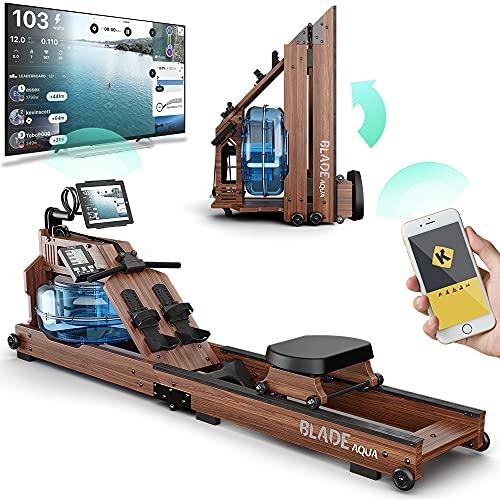 Bluefin Fitness Blade Aqua W-1   Rameur à Eau électrique   100% Bois de frêne   Rameur Pliable pour Usage à Domicile   Ecran LCD + Moniteur de Rythme Cardiaque   Intégration de l'application Kinomap