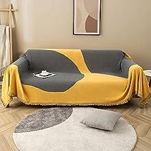 haoyunlai Juego de manta de playa para camping, toalla de sofá simple antideslizante, juego de cojines de sofá para tejer, 180 x 230 cm