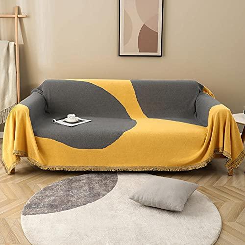 haoyunlai Manta de sofá para cama, toalla de sofá simple antideslizante, juego de cojines de sofá para tejer, 180 x 340 cm