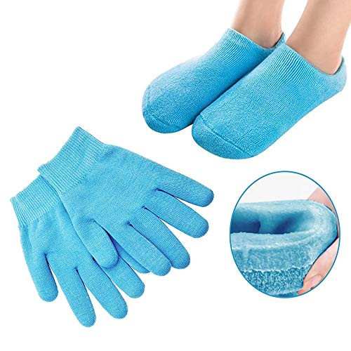Pinkiou Moisturizing Gloves Socks Set Gel Spa for Moisturize Soften Repairing Dry Cracked Hands Feet...