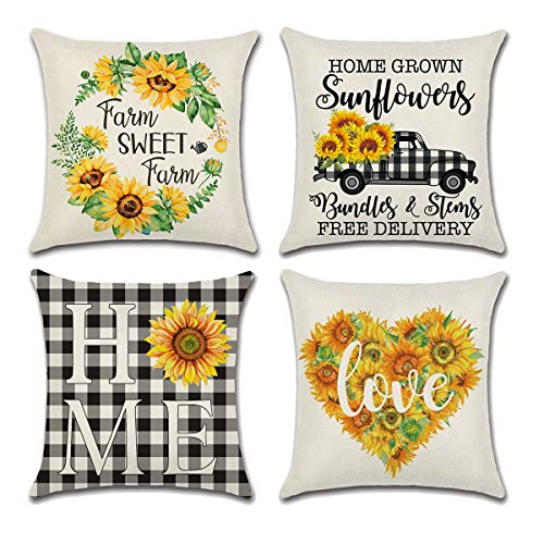 MOLECOLE 4PCS Sunflower Throw Pillow Covers, Summer Gardeen Decorative Throw Pillow Cover Watercolor Truck with Sunflower Farmhouse Decorative Pillow Case Cotton Linen Cushion Cover 18 X 18 Inches