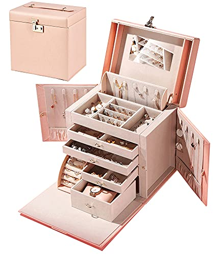 SANSREPONSE ジュエリーボックス 大容量 豪華 アクセサリーケース アクセサリー収納 アクセサリーボックス 宝石箱 鍵付き ミラー付き ピアス ネックレス 指輪置き (L-ピンク)