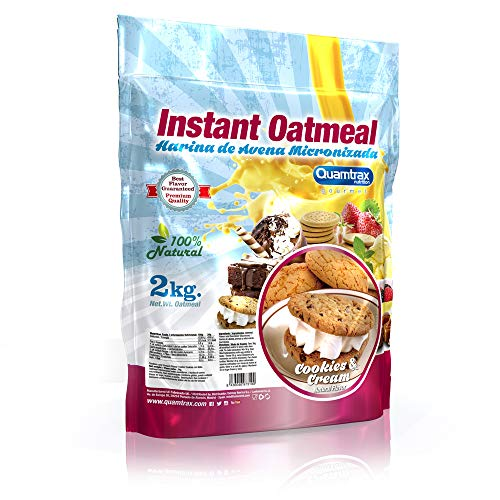 Quamtrax Nutrition Supplemento Nutrizionale Avena Instant Oatmeal, Cookies e Cream - 2000 gr