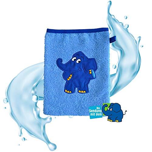 Smithy Waschlappen aus 100% Baumwolle – Öko Tex 100 zertifizierter Waschhandschuh blau mit Original blauer Elefant von Die Sendung mit der Maus