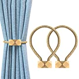 YOLIFE Strong Magnetic Curtain Tiebacks, Octagon Style Curtain Holdbacks Unique Designed Tie Backs for Curtain Drape Holder Braided Rope Holdback -Beige …