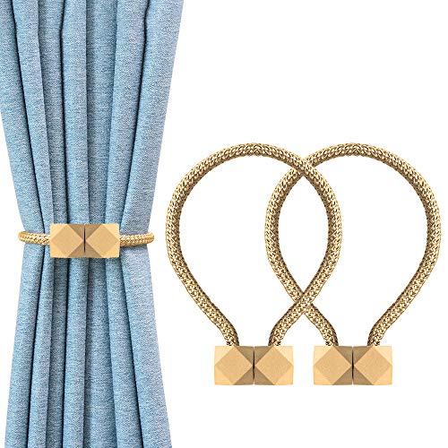OTHWAY Magnetische Vorhang Raffhalter, 2 Stück Vorhang Clips Seil Rückwärtige Vorhang Halter Schnallen Vorhang Binder Gardinenhalter für Haus Dekoration (Yellow)