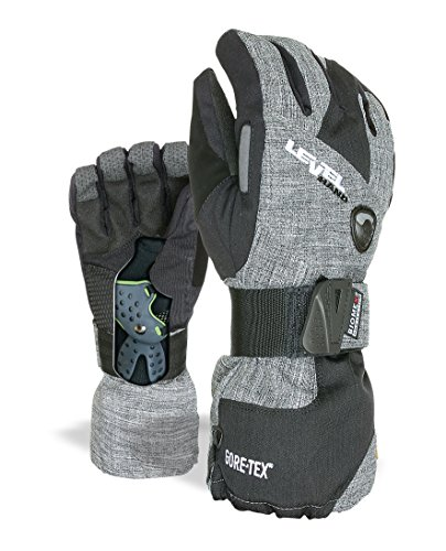 Level Half Pipe XCR Snowboard Gloves, Anthracite Color, Size Medium/Large (8.5 inches)