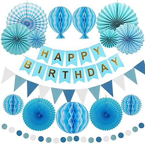 Geburtstagsdeko Blau, Papier Party Deko Junge, Happy Birthday Banner, Papierfächer, Pompons, Bunte Punkt girlande, Dreieck Bunting, Reusable Papier Party Luftballons für Geburtstag Partydeko Hochzeit