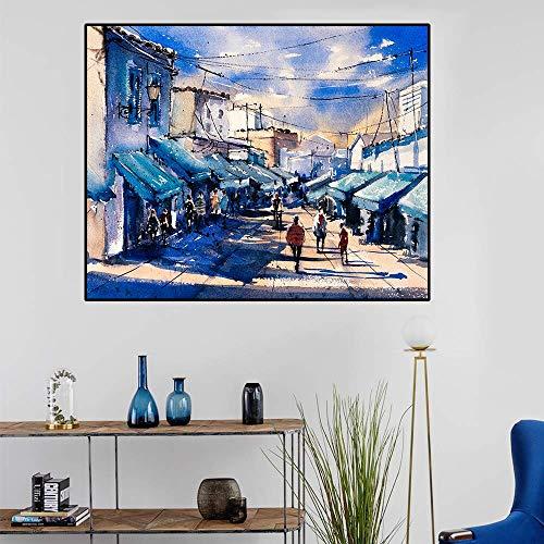 ganlanshu Leinwand Kunst Ölgemälde Animation Markt Bunte Wanddekoration Kunst Poster Wohnzimmer Büro Dekoration,Rahmenlose Malerei,40x50cm