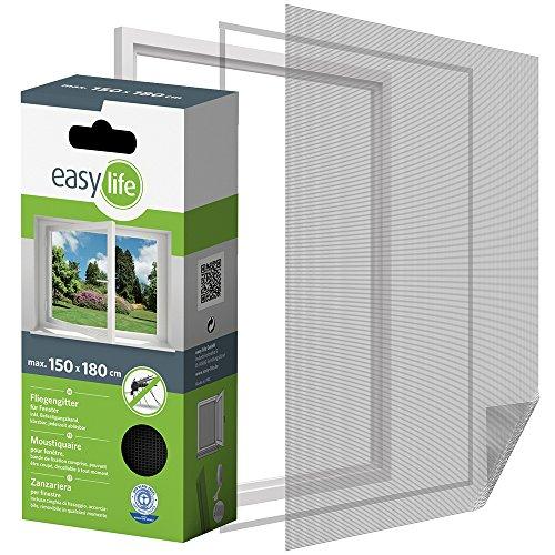 Protección Insectos Tela Mosquitera para ventana 150 x 180 cm Ventana de protección contra los insectos puede ser acortado - Antracita