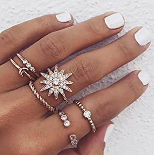 Simsly Boho Knuckle Ring Vintage Crystal Joint Knuckle Ring Set with Cresent for Women and Girls(Gold)(6PCS)