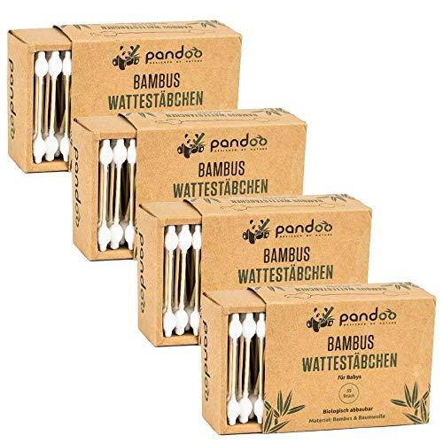 pandoo 4er Pack Bambus Wattestäbchen mit großem Sicherheitskopf (220 Stück) | Biologisch-Abbaubar, Vegan, Plastikfrei, Holzfrei & Nachhaltig | Ohrenstäbchen für Babys und Kinder