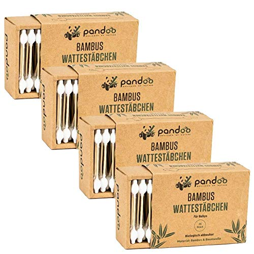 Pandoo 4 hisopos algodón bambú bebés - 100% biodegradable