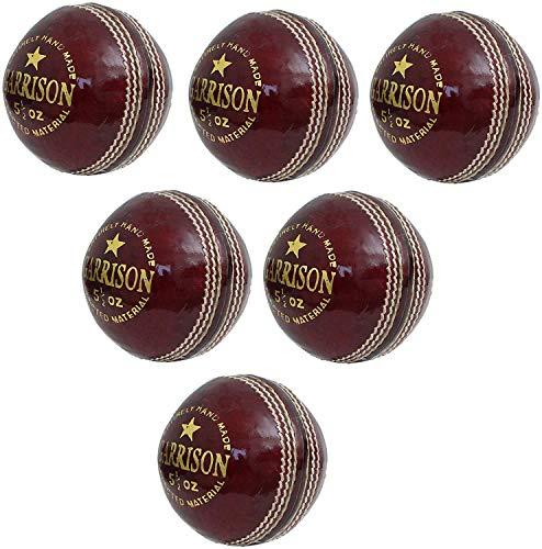CW Garrison Grade Red Leather Ball Cricket Season 4 Piece Balls Pack of 6 Top Grade Seasoned Cricket Ball Hand Stitched Club Match Tournament Ball Set