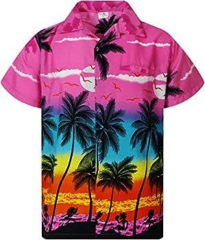 KING KAMEHA Funky Hawaiian Shirt Shortsleeve Beach Eclectic Pink M