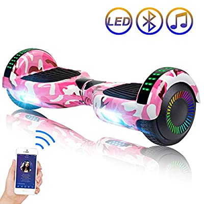 "SISIGAD Hoverboard Self Balancing Scooter 6.5"" Two-Wheel Self Balancing Hoverboard with Bluetooth Speaker and LED Lights Electric Scooter for Adult Kids Gift UL 2272 Certified - Pink Camou"