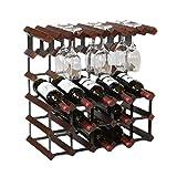 WHL Rostro De Vino Topes De Vidrio De Vino Tabletop Stands Hold 15 Botellas Y 10 Gafas para La Cocina Despensa del Gabinete