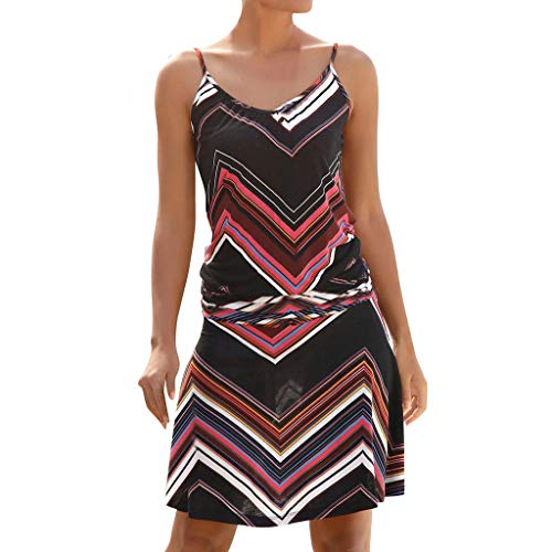 💃Strandkleider Damen Sommer💃, Plot Frauen Ärmellos Kleid Sommer Mini Kleider Damen Sexy Sommerkleid mit Streifen Casual A-Linie Bodycon Freizeitkleider