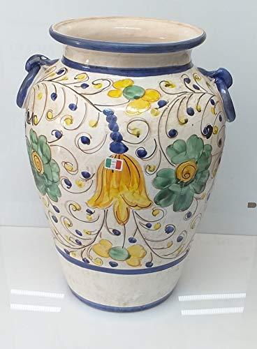 Pagano home portaombrelli porta ombrelli in ceramica decorato a mano Made in Italy altezza 50 cm. mod fiore giallo