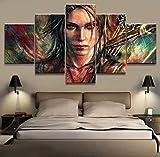 Diy 5D pintura de diamante 5 paneles Tomb Raider Lara Croft juego de diamantes de imitación impreso para sala de estar arte de pared decoración del hogar imagen obra de arte cartel redondo diamante