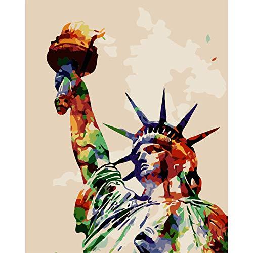 Pintura por Números para Adultos con Pinceles Y Pinturas para Niños Junior Principiante Acrílicos Kits De Pintura sobre Lienzo Pintado - Estatua De La Libertad 40X50Cm - Sin Marco
