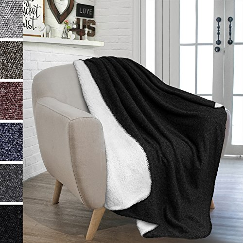 PAVILIA Knit Sherpa Blanket Throw for Couch, Sofa | Fleece Weave, Super Soft, Plush, Reversible, Lightweight Microfiber | Melange Two-Tone All Season Throw (50 x 60 inches, Black)