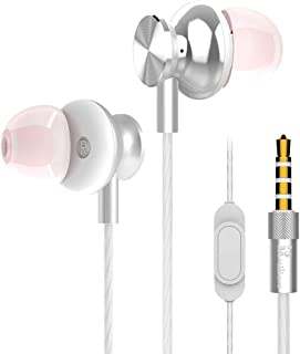 in-Ear Earbuds Stereo Bass Headphones Earphones Microphone Compatible iPhone, Samsung Android (Silver)