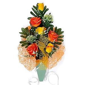 dolarestore Ramo para Cementerio pequeño, Flores Artificiales (Tela) Especial incineración. Medida 47cm (Naranja)